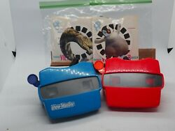 View-master Blue Case With 1-blue And 1-red Viewer W/happy Feet And Dino 3-reel Sets