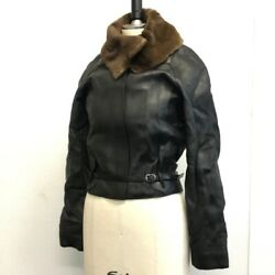 Hermes With Fur Leather Jacket Outer Women And039s Black Previously Owned No.1587