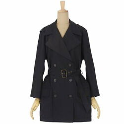 Hermes Vintage Trench Coat Silk Outer Women And039s 38 Black Womenand039s Coats No.1886