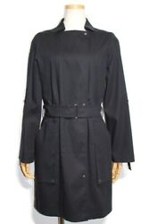 Hermes Outer Trench Coat Blouson Ladies 36 Cotton Navy With Belt No.2599