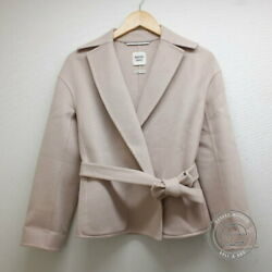 Hermes Cashmere With Belt Short Coat 36 Pink Women And039s Previously Owned No.2560