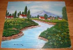 Americana Vintage White Houses Village Mountain Valley River Stream Oil Painting