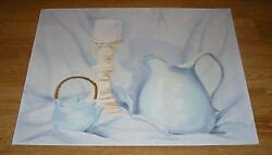 White Blue Hues Teapot Candlestick Pitcher Impressionism Still Life Oil Painting