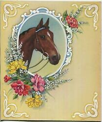 Vintage Anglo Arab Equestrian Horse Babyand039s Breath Carnations Flowers Wc Painting