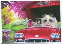 Aceo Siamese Rag Doll Cat Mouse Red Corvette Spring Season Drive Geese Art Print