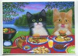 Aceo Orange Tabby Cat Tuxedo Cookout Chipmunk Hamburger Cook Out Picnic Print