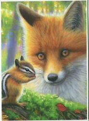 Aceo Red Fox Amber Color Eyes Chipmunk Best Friends Woods Forest Animals Print