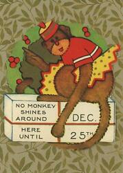 Antique Monkey Wreath Present Christmas Sticker Small Art Color Aceo Size Print