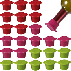 24 Pieces Wine Stopper Wine Silicone Caps Silicone Bottle Sealer Beer Cap