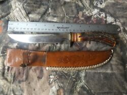 Rare Vintage Queen Steel Usa Vietnam Era Stag Recon Bowie Knife Fighting Knives