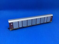"""Used N Scale Con-cor Santa Fe """"q"""" Autorack With M/t Trucks And Couplers 84412"""