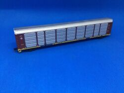Used N Scale Con-cor Santa Fe Auto Rack With Body Mount M/t Couplers 978037
