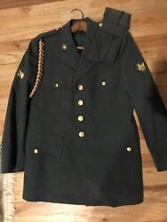 Vintage Us Military Officer Dress Uniform Jacket With Pins And Hat -39s