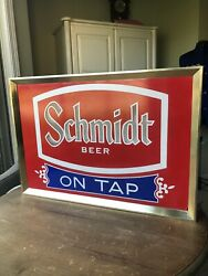 Jacob Schmidt Brewing Co. 1972 Electric Sign Glass And Metal Light 14x20 Beer A+