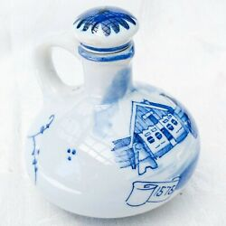 Antique Bols Mini Blue And White Delftware Advertising Jug And Cork Stopper 3.75