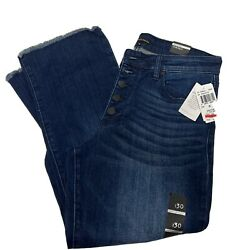 Women Greene St. Denim Cropped Button-fly Jeans High Rise Kick Flare 30 Nwt