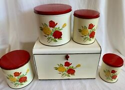 Vintage Gsw Breadbox And Set Of 4 Nesting Canisters Metal Red And Yellow Roses 1952