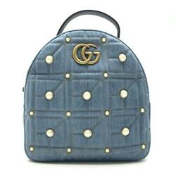 476671 Gg Marmont Denim Backpack Blue Fastener Opening And No.1668