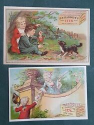 Lot 1880s Antique 2pc Babbitt's Yeast Puppet Dog Fashion Ny Victorian Trade Card