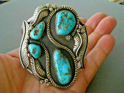 Native American Navajo Turquoise Sterling Silver Snake And Leaves Cuff Bracelet