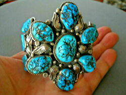 Huge Native American Turquoise Nugget Feather Cluster Sterling Silver Bracelet