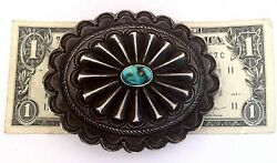 Vintage Native American Sterling Silver Concho W/ Turquoise Buckle /115 Grams