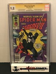 Marvel Team Up # 141 CGC 9.8 Newsstand SS Signed By Stan Lee First Black Suit