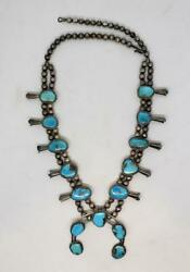 Native Navajo 154g Vintage Squash Blossom Sterling Silver Turquoise Necklace