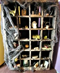 Antique Wood Crate Halloween Shadow Box Heavy Divided Box Primitive Witch Prop