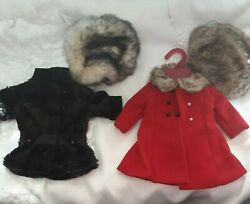 American Girl Doll Bonnie And Pearl Doll Clothes 2 Coats With Fur Hats