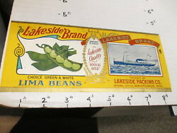 Lakeside Lima Beans 1928 Ocean Liner Metal Tin Can Food Paper Label Manitowoc Wi