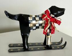 My Own Courtly Metal Black Lab Figurine- Christmas - Holiday Black And White Check
