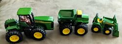 John Deere Die Cast Plastic Toy Tractor Front End Loader And Dump Truck Used