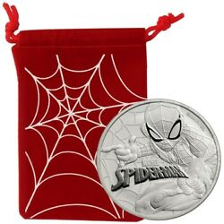 2017 Spiderman With Red Pouch Tuvalu 1 Oz..9999 Silver Marvel Series Pristine