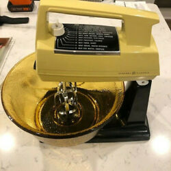 Vintage Gold General Electric 12 Speed Mixer On Stand Dim44 W/ Original Ge Bowl