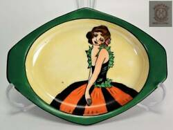 Old Noritake Deco Lady Small Dish Plate Good Condition