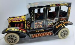 Vintage Marx Tin And039old Jalopyand039 Wind-up Sedan With Driver Litho Metal Toy Car