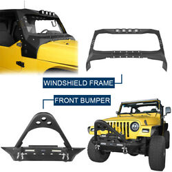 Stubby Front Bumper W/winch Plate +visor Cowl Cover Fit Jeep Wrangler Tj 97-06