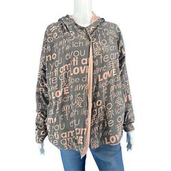 Peace Love World Reversible Jacket 1x Plus Size Pink Gray Allover Print W Hoodie