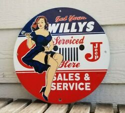 Vintage Willyand039s Jeep Porcelain Gas Automobile 4 Wd Service Here Sales Pump Sign
