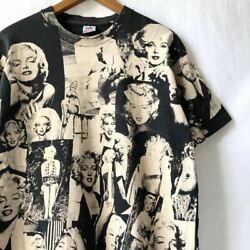 Vintage 93and039s Edwards Teez Marilyn Monroe Full Print T-shirt Black Size L Used