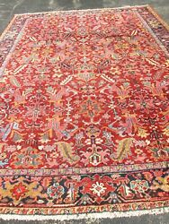 Awesome 11and0391and039and039x8and0398and039and039 Antique Herize Oriental Rug.