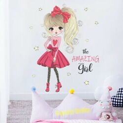 Red Dress Little Princess Wall Stickers Kids Room Living Room Home Vinyl Decals