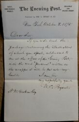 1875 Letter From Poet And Editor William Cullen Bryant To Frederick W Gookin
