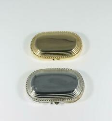 Set Of 1980s Prototypes Estee Lauder Gold And Silver Oval Solid Perfume Compacts