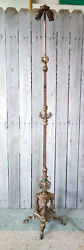 Vintage Art Deco Gold Polychrome Cast Iron Floral Claw Foot 2 Socket Floor Lamp