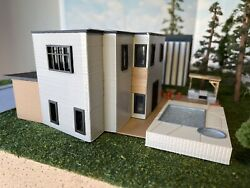Ho Scale/modern House/whole Building 3d Printed/outdoor Kitchen Pergola/pool