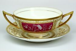 Rare Minton Pate-sur-pate Exotic Bird Gilt Cup And Saucer Artist Signed S.a.