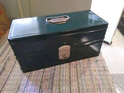 Vintage Climax Hamilton Metal Products Green Tackle Box Tool Box Very Clean