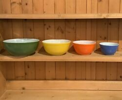 Rare Vintage Pyrex Reverse Primary Colors Set Of 4 Nesting Mixing Bowls